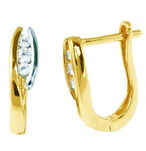 Boucle d'oreilles en or 2 tons avec cubics et fermoir à cliquet. Donnez un ensemble en ajoutant le pendentif en or avec cubics - 0321P