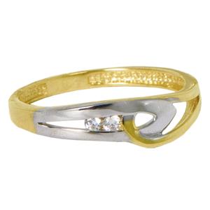 Bague au design emmaillé en or 2 tons (blanc et jaune) 10k.  Pour un ensemble complet, voir aussi le pendentif 0407P ainsi que les Boucles d'oreilles Huggies 0407BO