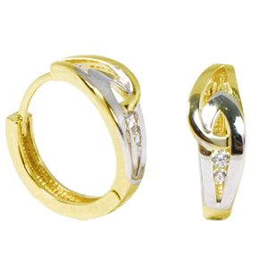 Boucles d'oreilles Huggies au design emmaillé en or 2 tons (blanc et jaune) 10k.  Pour un ensemble complet, voir aussi le pendentif 0407P ainsi que la bague 0407B