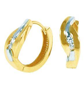 Boucles d'oreilles Huggies en or 10k 2 tons avec cubic.  Pour un ensemble harmonieux voir le pendentif 0485P ainsi que la bague 0485B
