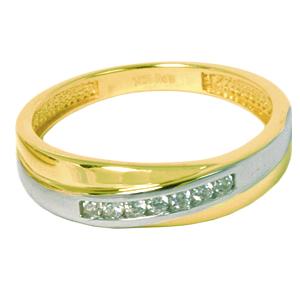 Jonc dame- Alliances en or 2 tons 10k (jaune et blanc) avec cubics  Le prix peut varier selon les grandeurs