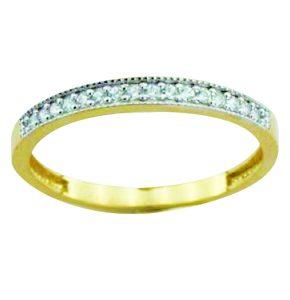 Jonc semi éternité en or 10k, disponible en blanc ou en jaune avec cubics.