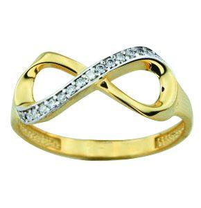Bague infini en or jaune 10k avec cubics et aussi disponible en or blanc  Le prix peut varier selon la grandeur