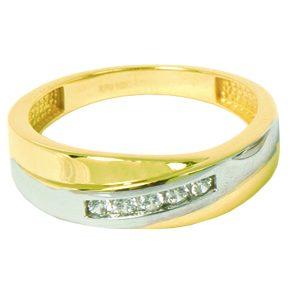 Jonc pour homme/Alliances en or 2 tons 10k (blanc et jaune) avec cubics