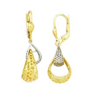 Boucles d'oreilles ajourées 2 tons en or 10k ( jaune et blanc )