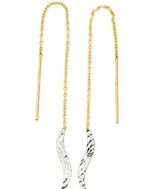 Boucles d'oreilles pendantes en or 2 tons (blanc et jaune) formes feuilles