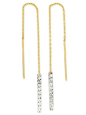 Boucles d'oreilles pendantes en or 2 tons (blanc et jaune) formes rectangulaires