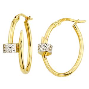 Boucles d'oreilles anneaux 2 tons en or 10k