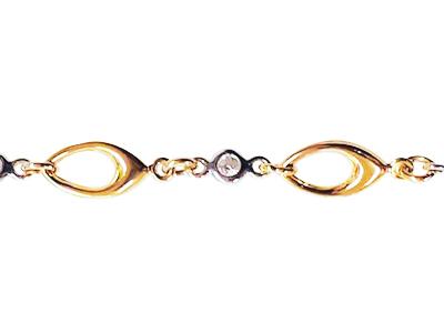 Bracelet en or 10k 2 tons (blanc et jaune) avec cubics