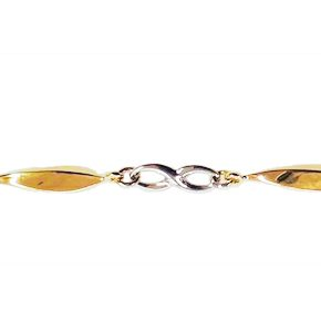 Bracelet infini en or 10k 2 tons (blanc et jaune)