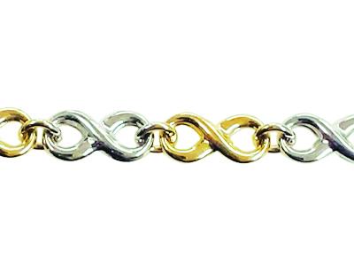 Bracelet style infini en or 10k 2 tons (blanc et jaune)