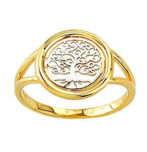 Bague arbre de vie en or 10k 2 tons  Le prix peut varier selon la grandeur