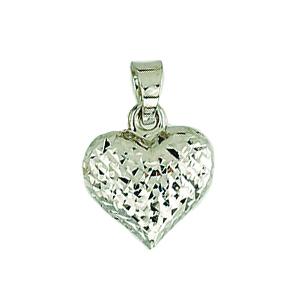 Pendentif cœur en argent 925 aux motifs effet de diamant