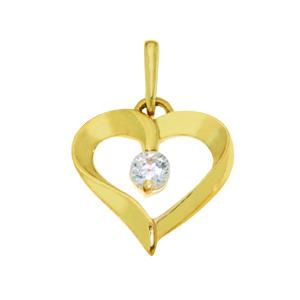 Pendentif cœur en or jaune 10k avec cubic