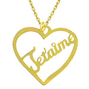 Pendentif ajouré Je t'aime en or jaune 10k. Un classique!