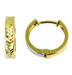 Huggies en or jaune 10k aux textures effet diamant