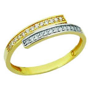 Jonc semi-éternité en or 10k 2 tons ( jaune et blanc) à la forme décalée.   Le prix peut varier selon la grandeur